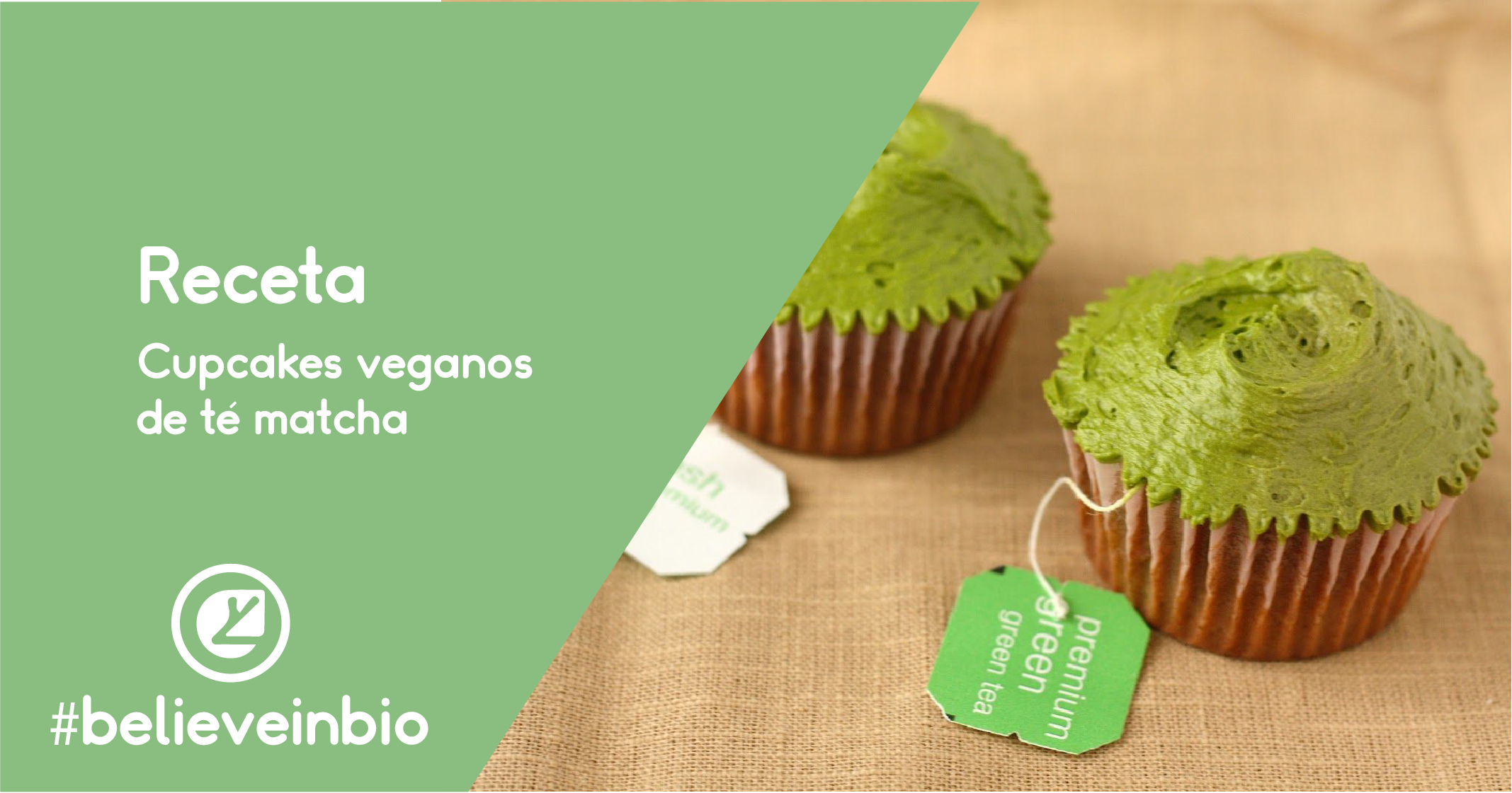 Cupcakes veganos de te matcha
